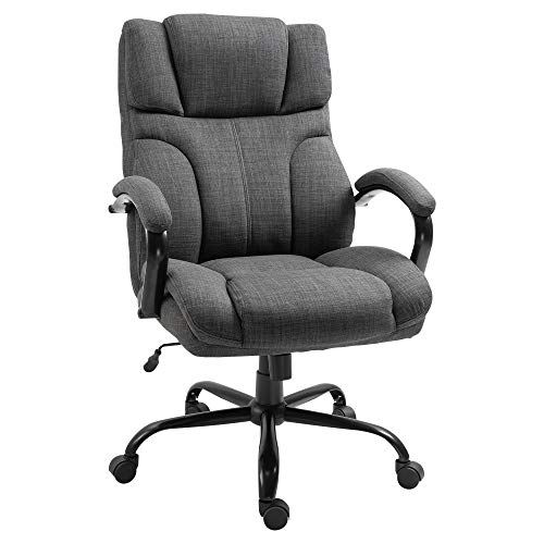 Vinsetto Big and Tall Ergonomic Executive Office Computer Chair 500lbs High Capacity with Upholstered Thick Padding Headrest and Armrest, 5 Univeral Wheels and Linen Finish, Dark Grey