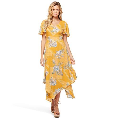 Jessica Simpson Damen Toni Maxi Dress Kleid, Gardenie gelbe Fliese, Klein