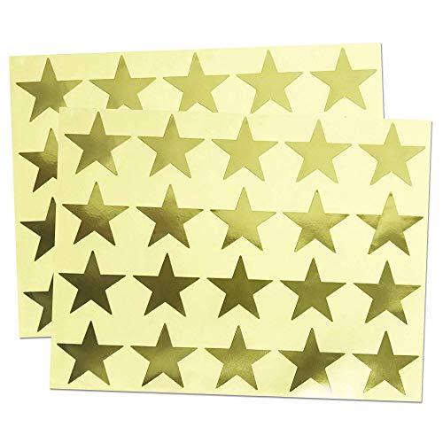 500 Stück, 40mm Gold Stern Aufkleber Selbstklebende