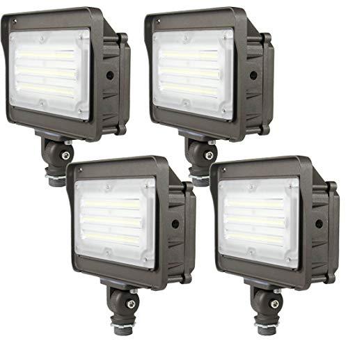 (4-Pack) Kadision LED Flood Light, Dusk-to-Dawn Photocell, 50W (250W Equivalent) 5000K 6500Lm 100-277Vac, 180° Adjustable Knuckle, Waterproof Outdoor Area Lighting Fixture
