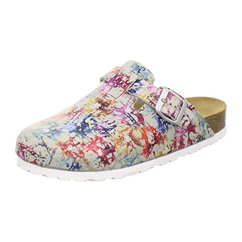 AFS-Schuhe 2900 Clogs Damen, Bequeme Hausschuhe verstellbar, echt Leder (37 EU Mehrfarbig/bunt)