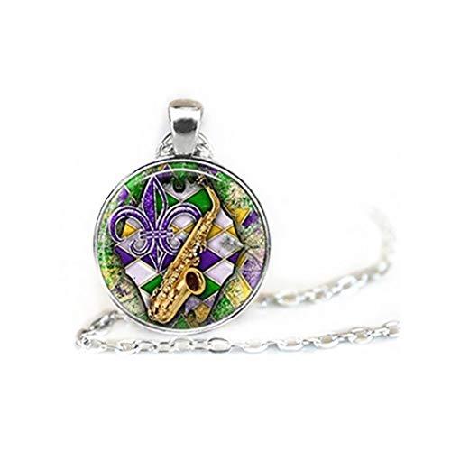 Collar de azulejos de cristal, azulejos de cristal, joyería de Mardi Gras, joyería morada, joyería de flor de lis, joyería verde