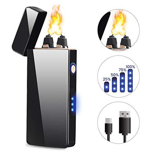 HOCOSY Briquet Électrique, Briquet 3 Arc, Briquet USB Rechargeable avec Points d'arc et Indicateur Puissance, pour Cigarettes, Cuisines, Camping, Barbecues, Bougies