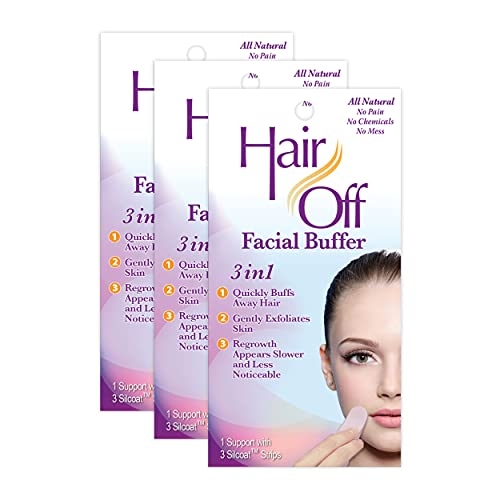 Hair Off Facial Buffer - All-Natural, Pain & Chemical Free Hair Removal - Exfoliates Skin - Slows & Lessens Regrowth - Good for Travel & Touch-Ups (3 Buffers Per Box, Pack of 3)