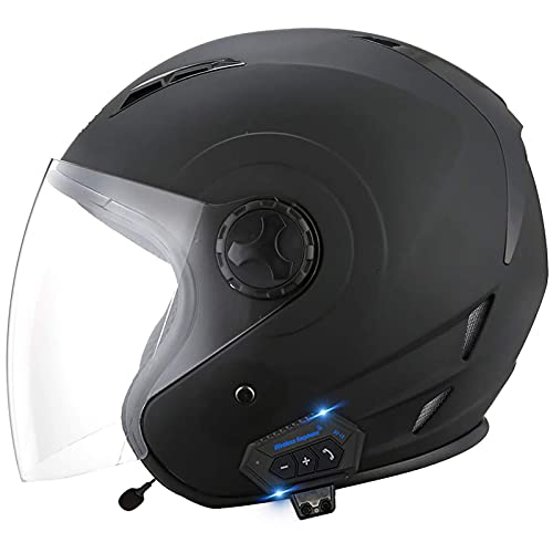 HYRGLIZI Cascos de Motocicleta Bluetooth Casco de Moto Jet Aprobado por Dot Motocicleta 3/4 Medio Casco de Cara Abierta, con micrófono para Respuesta automática 1, M = (57~58CM)