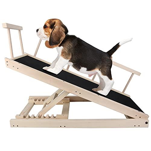 H HUKOER Escalera para Perros, Rampa Plegable para Perros y Gatos, Escalera de Coche Ajustable en Altura de 29-53 cm, Sendero para Mascotas con Superficie Antideslizante para Coches, Camas, sofás