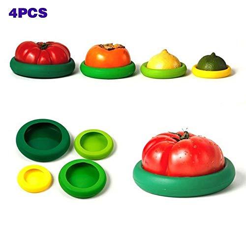 Cisixin Flexible Silicona vegetales frutas Alimentos reutilizables tapa latas latas para mantener frutas frescas de almacenamiento(4 pcs)