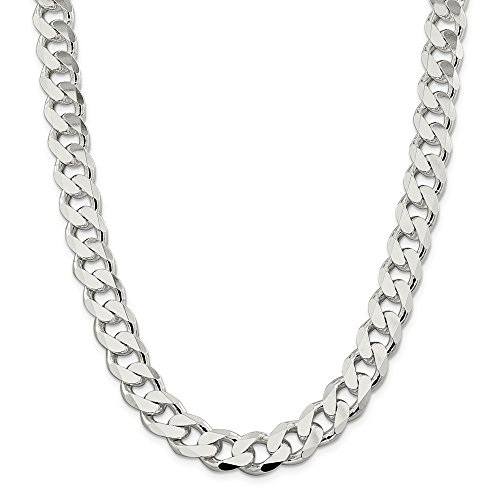 925 Sterling Silver 13mm Link Curb Chain Necklace 22 Inch Pendant Charm Man Flat Beveled Fine Jewellery For Dad Mens Gifts For Him