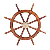 TUP THE URBAN PORT 36-Inch Teak Wood Ship Wheel with Brass Inset and Eight Spokes, Brown and Gold