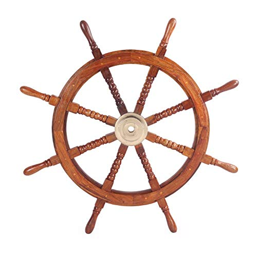 TUP The Urban Port SH 8764 36' Teak Wood Ship Wheel with Brass Inset and Eight Spokes, Inch, Brown and Gold