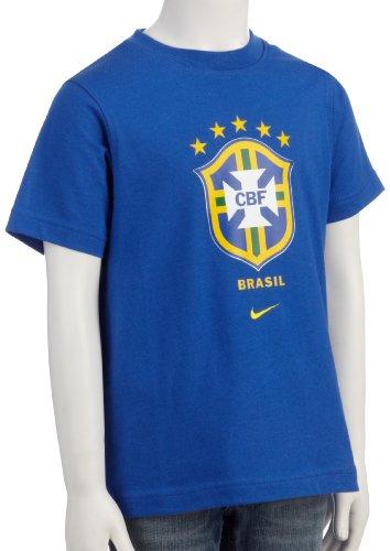 NIKE–Camiseta de Brasil Federaciones–Camiseta de Manga Corta, Niños, Azul, Large
