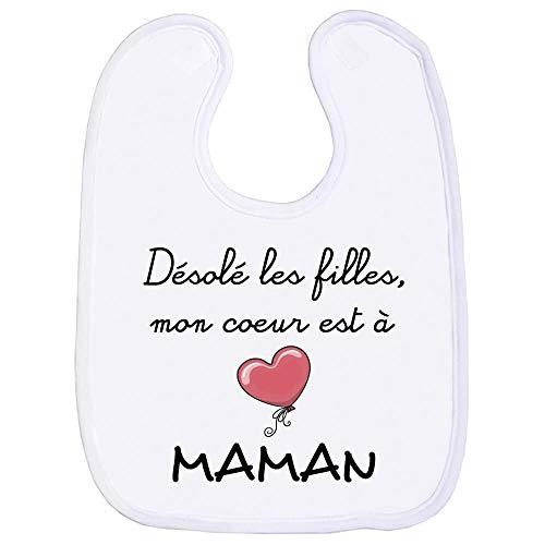 Bavoir garçon, bavette bébé, maman, amour, tendresse, scratch au cou, fête des mères, humour, extra couvrant - Blanc