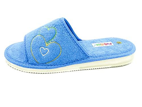 PULIDINES - Zapatilla de casa de Toalla con Suela de Piso microporoso Mujer Talla: 40 Color: Azul