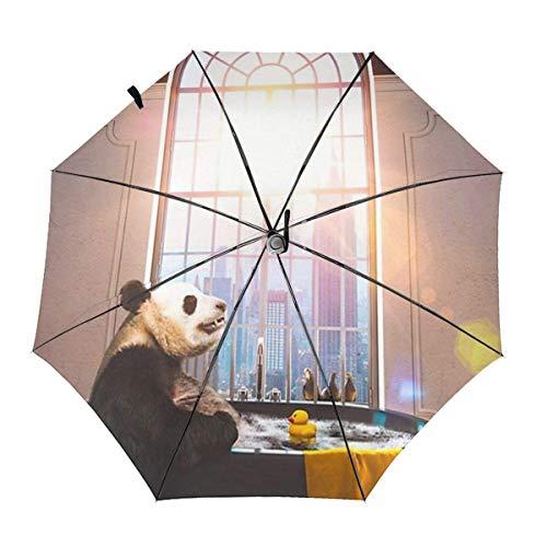 Paraguas automáticos a Prueba de Viento Panda Bañándose en la bañera Pato...