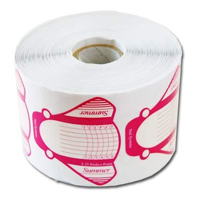 PROFICO Nagelschablonen | Papier Summer Selbstklebende Modellier-Schablone für Gel und Akryl Nagel Verlängerung (100 Stück, Rosa)
