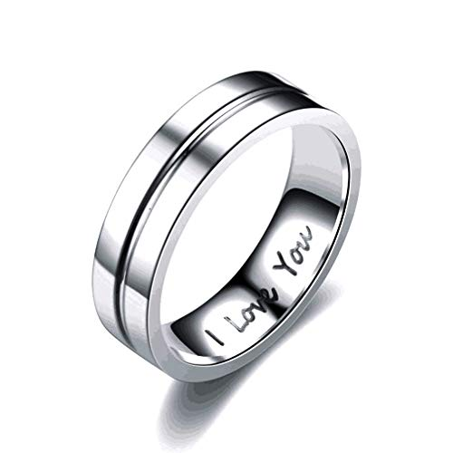 4EAELove I Love You Engraved Couple Rings His Her Cubic Zirconia Engagement Wedding Bands Gift Birthday Annivesary Titanium Steel Silver (Men-6mm,9)