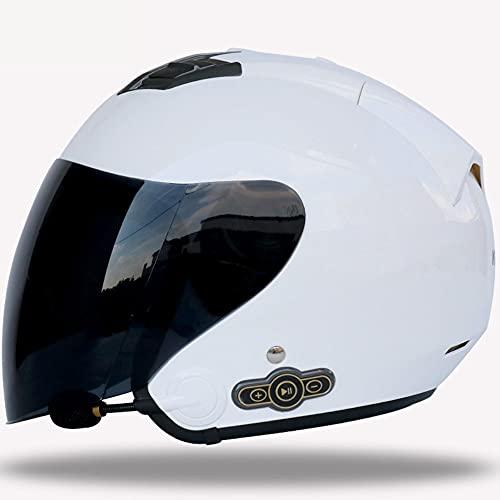 Casco Moto Jet Bluetooth, ECE/Dot Homologado Casco Moto Scooter Abierto para Mujer Hombre Adultos, con un Micrófono Incorporado Altavoces Doble Visera