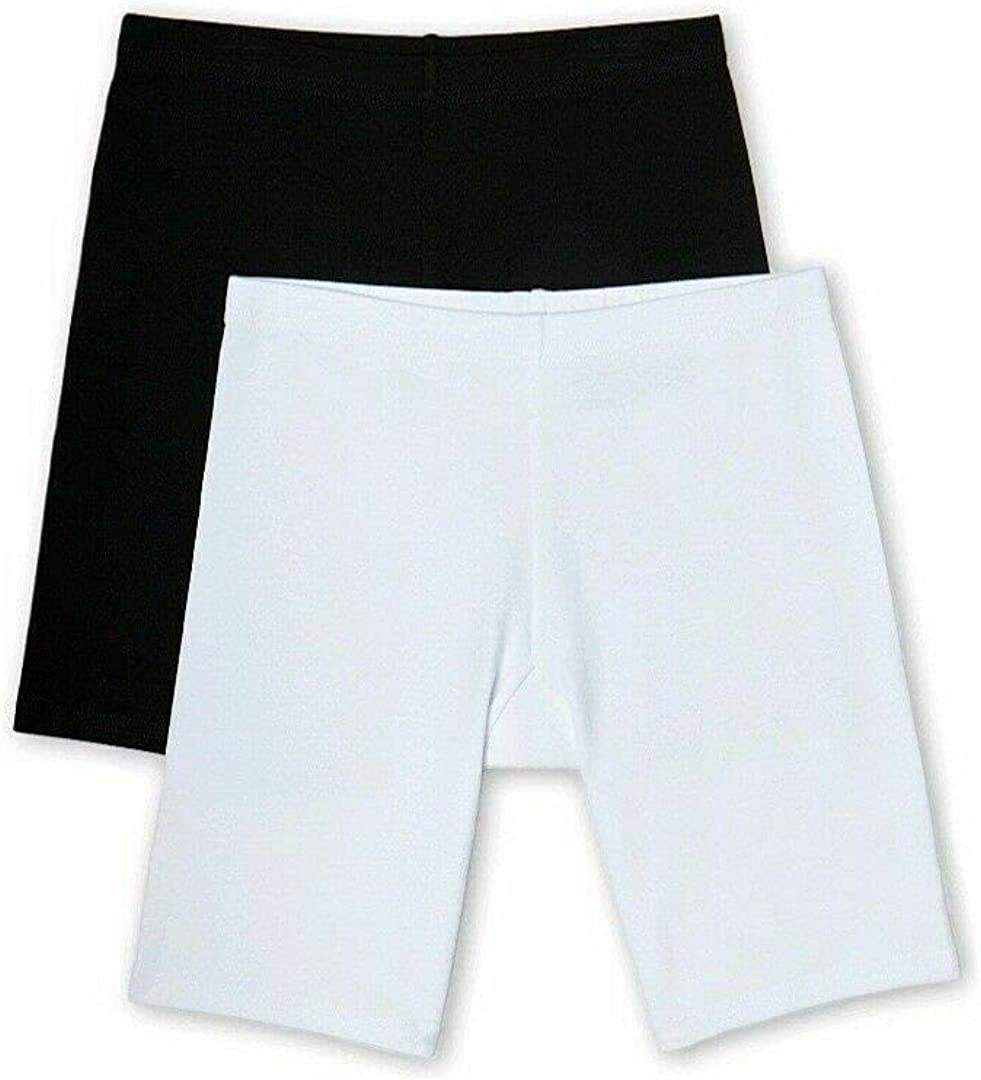 Girls Cotton Seamless Underskirt Panty Bike Shorts 2 pack (Nylon XX-Large 14) Black, White