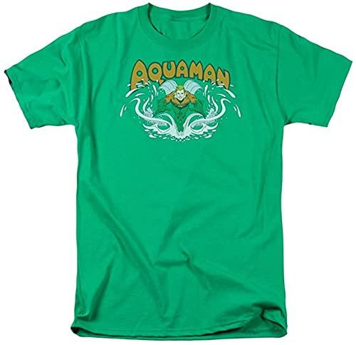 AQUAMAN – Splash Adultes à Manches Courtes T-Shirt en Kelly Green par DC Comics - Vert - Large