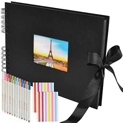 WOWOSS Álbum de Fotos para Pegar y Escribir con 12 Bolígrafos de Colores, Álbum de Fotos Personalizado para Familias, Crecimiento de Niños, Regalo de Cumpleaños