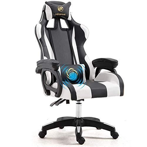 LaLa POP Weew PC Gaming Racing Presidente Silla de oficina Escritorio de la computadora Butaca de juego, la fibra de carbono de alta PU Volver ergonómica de 150 grados ajustable silla giratoria con re