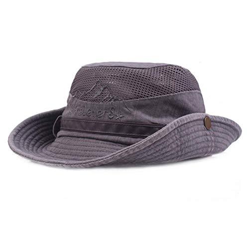 AoJuy Herren Baumwolle Geprägt Hut, Außen Sonnenschutz Breite Krempe Faltbar Dschungelhut Fischerhut für Angel Wandern - grau