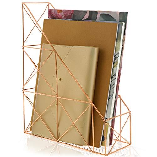 Revistero – Revistero de metal, marco de alambre de malla, soporte para archivos con diseño de Hip Geo, oro rosa