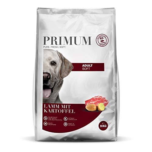 Primum | Soft Lamm mit Kartoffel | 5 kg | Halbfeuchtes Hundefutter | Getreidefreies Trockenfutter | Hoher Fleischanteil | Optimal verdaulich | Hypoallergen
