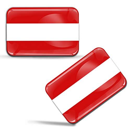 Biomar Labs® 2 x Aufkleber 3D Gel Silikon Stickers Österreich Austria Österreichische Flagge Fahne Flag Auto Motorrad Fahrrad Fenster Tür PC Handy Tablet Laptop F 37