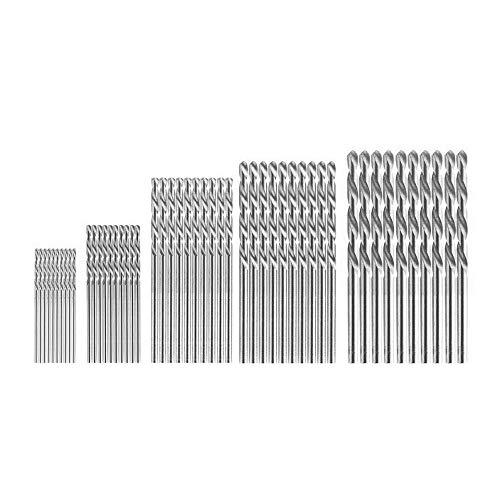 50pcs Drill Bit Set, Metal Straight Shank Drill Bit, Electric Drill Steel Titanium Coated Twist Wood Drill Bit Set (Silver)