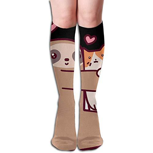 Cartoon luiaard knuffels een kat vrouwen sport hoge kousen atletische bemanning dames sokken 19.7