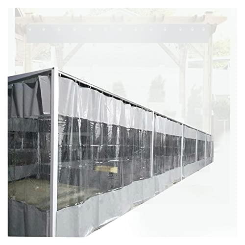 ZWYSL Cortinas para Patio Al Aire Libre,Paneles Laterales Impermeables con Ojales,Lona de PVC Utilizada para Jardín/Garaje/Balcón/Pérgola,600g (Color : Clear Gray, Size : 1.9x2m)