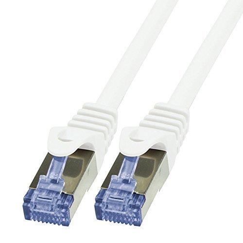 BIGtec 0,50m Netzwerkkabel Patchkabel Ethernet LAN DSL Patch Kabel Gigabit weiß (2X RJ-45 Anschluß, CAT6a, doppelt geschirmt SFTP) 0,50 Meter
