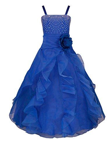 TiaoBug Blumenmädchen Festkleider Kleid Lang Brautjungfern Party Kleid Hochzeit Festlich Kleidung 92 104 116 128 140 152 164 Blau 164