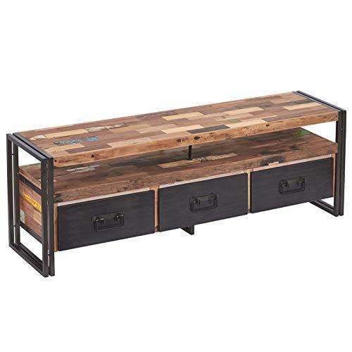 Meuble TV en Bois 3 tiroirs - Industry - L 160 x l 40 x H 55 - Neuf
