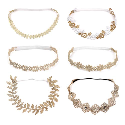 Zapire 6pcs Lace Floral Headbands for Baby Girl Elastic Flower Bows Hair Bands Beautiful Kid Girl Hairbands Hair Accessories