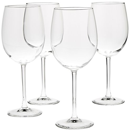 AmazonBasics - Copas de vino multiusos, Set de 4, Transparente, 561,89 ml