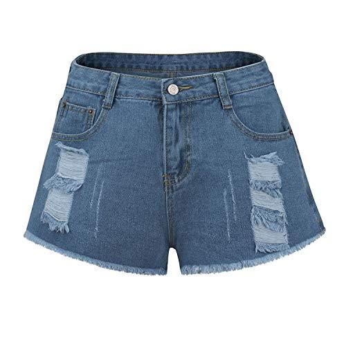 Pantalones cortos EMP-Wang 2020 Verano de cintura alta Denim Mujer Sexy Agujero Ripped Jeans Casual Mujer Pantalones Cortos de Mujer
