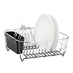 Chrome finish combines elegance with functionality Color coated wire base to protect dishes, and increase stylish Small-sized drainer with slots to hold up more than 8 dishes Detachable plastic cutlery cup Measures 12-3/4 by 14-1/4 by 5-1/4 inches ap...