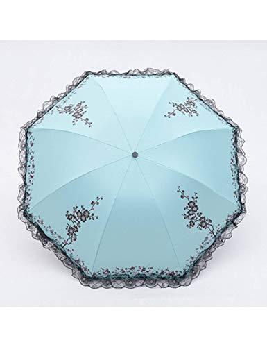 KDLVJ Ombrello 6 Colori Plum Flower Blossom Parasole In Pizzo Tre Ombrello Pieghevole Parasole In Pizzo Ombrello Pioggia Donne, Blu Acido