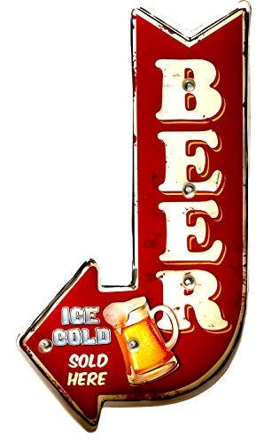 Cartello Retro Insegna luminosa vintage in metallo, prodotto artigianale, accessori per la decorazione della casa (Ice Cold Beer)