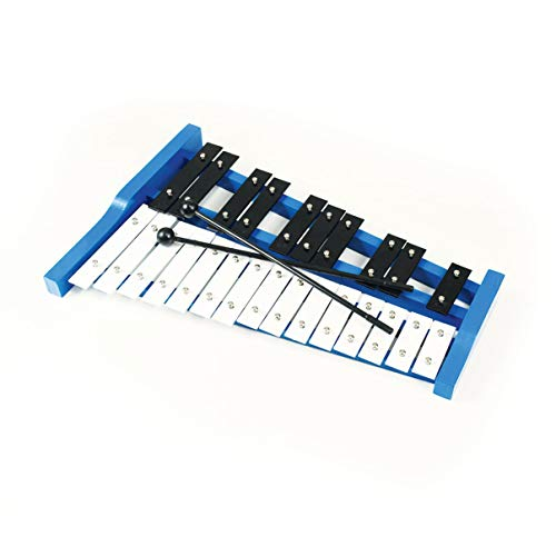 Professional Blue Wooden Soprano Glockenspiel Xylophone with 25 Metal Keys for Adults and Kids  Includes 2 Plastic Beaters