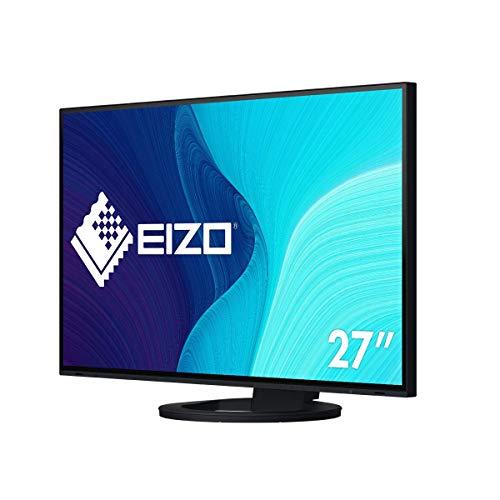 EIZO FlexScan EV2795-BK 68,5 cm (27 Zoll) Monitor (HDMI, USB 3.1 Hub, USB 3.1 Typ C, RJ-45 LAN, DisplayPort, 5 ms Reaktionszeit, Auflösung 2560 x 1440) schwarz