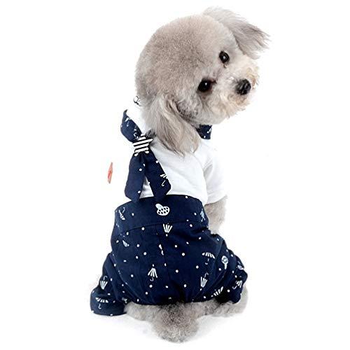 JIEG Pet Costume da Marinaio per Piccolo Cane Boy Matching Outfits Stampato Cucciolo Vestiti