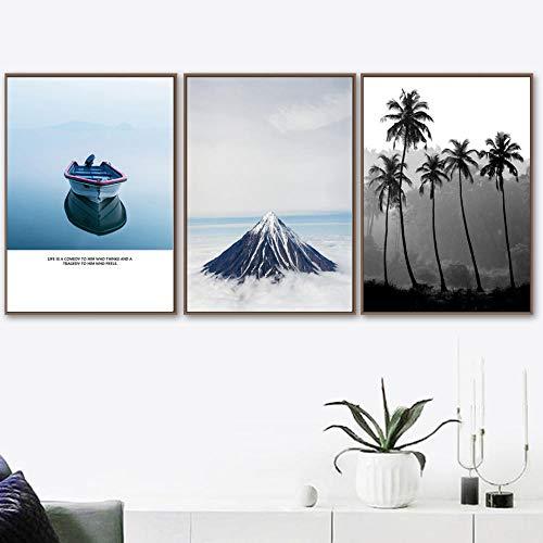 JRLDMD Matterhorn Mountain Peak Baum Boot See Wandkunst Leinwand Malerei Nordic Poster und Drucke Wandbilder für Wohnzimmer Dekor 50x70cmx3 Rahmenlos