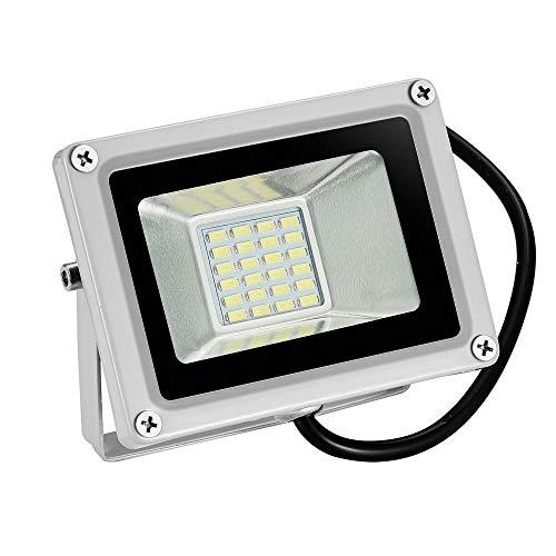 12V Foco LED, 20W 1600LM Blanco Frío 6000K Reflector Foco Proyector LED para Exteriores Floodlight, Súper Brillante luz de Seguridad para Jardín, Garaje, Campo Deportivo…
