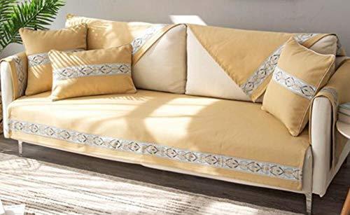 kinfuki Prueba De Polvo Lavable Suave Toalla De Sofá,Funda de sofá de Cubierta Completa para Enviar 2 Fundas de Almohada-Amarillo, 70 * 180