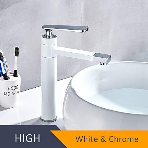 DAMO & GUYAN wastafelarmaturen, zwart-wit wastafelkraan, 360 rotatie badkamerkraan, eenhands heetkoud water mengkraan, kraan wastafelkraan