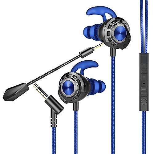 BENGOO G01 Écouteur Gaming, Casque Gaming in-Ear avec Double Microphone Détachable, Micro Réglable et contrôle du Volume, avec Prise Jack 3,5 mm, pour Mobile, Nintendo Switch, PC, PS4, et Xbox One