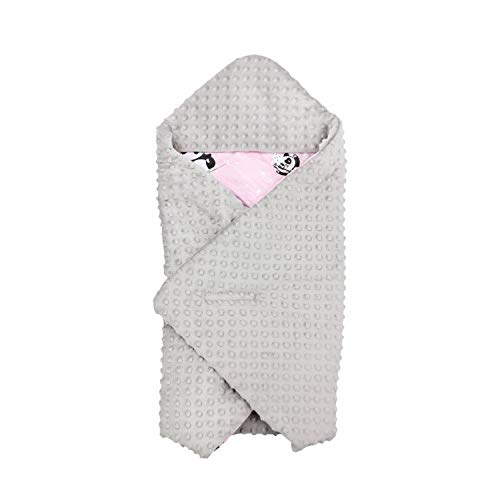 TupTam Baby Sommer Einschlagdecke für Babyschale, Farbe: Panda Rosa, Größe: ca. 75 x 75 cm
